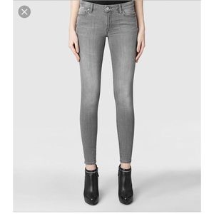 All Saints gray ankle zip skinny mast jeans 28